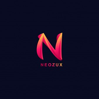 3d-letter n logo moderne stijlverlopen