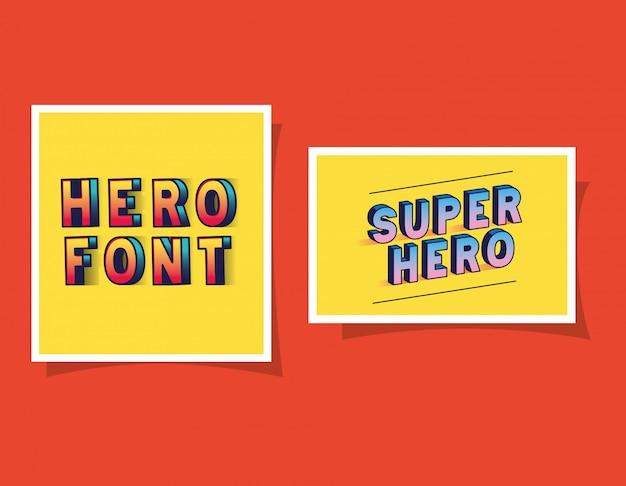 3d-lettertypen van superheld en held op gele achtergronden