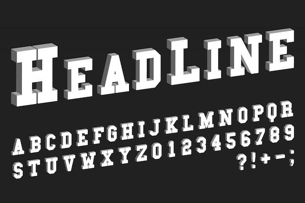 3d-lettertypesjabloon. letters en cijfers isometrisch ontwerp. vector illustratie.