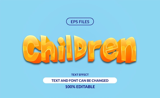 3d leuk bewerkbaar teksteffect voor kinderen.