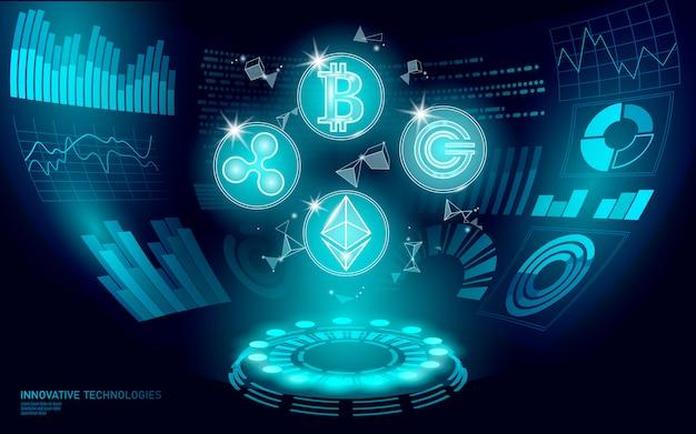 3d low poly digitale cryptocurrency hud-weergave. toekomstige online betaling via internet. technologie voor uitwisseling van big data-informatie. blauwe abstracte elektronische de betalingsui illustratie van webinternet