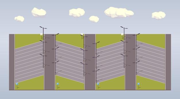 3d low poly isometrische parkeerplaats