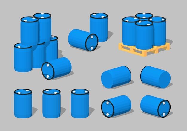 3d lowpoly blauwe plastic vaten