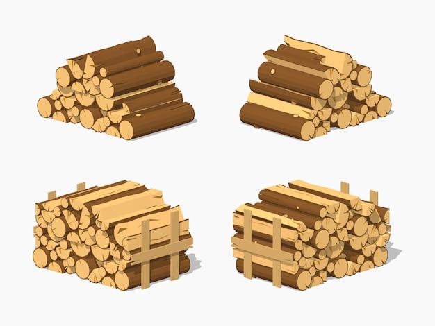 3d lowpoly isometrisch brandhout dat in stapels wordt gestapeld