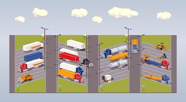 3d lowpoly isometrisch zwaar vrachtwagensparkeerterrein