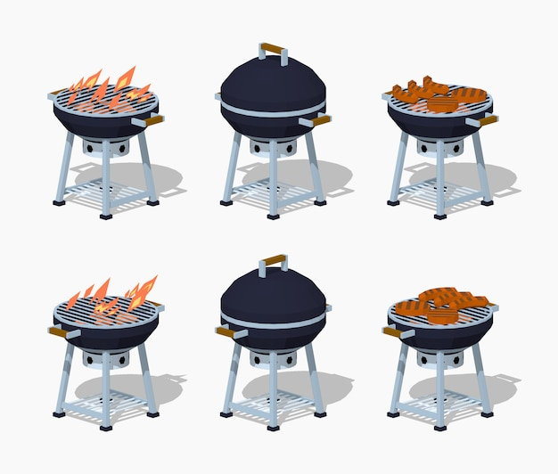3d lowpoly isometrische barbecue