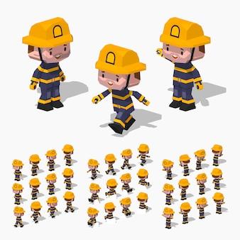 3d lowpoly isometrische brandweerman