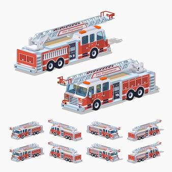 3d lowpoly isometrische brandweerwagen