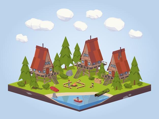 3d lowpoly isometrische cabines in het bos dichtbij het meer