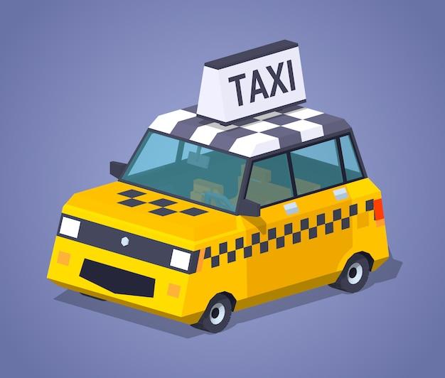 3d lowpoly isometrische gele taxichatchback