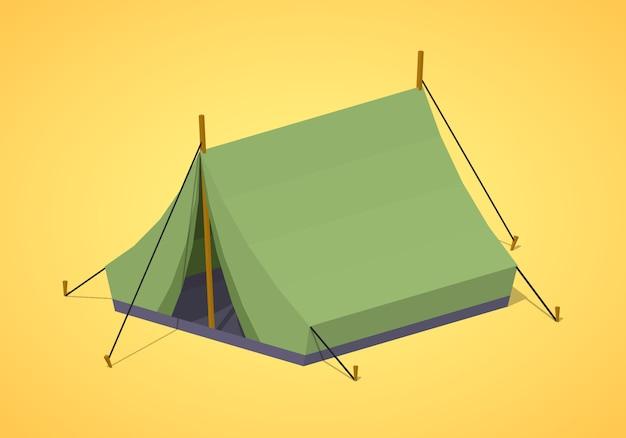3d lowpoly isometrische groene kampeertenten