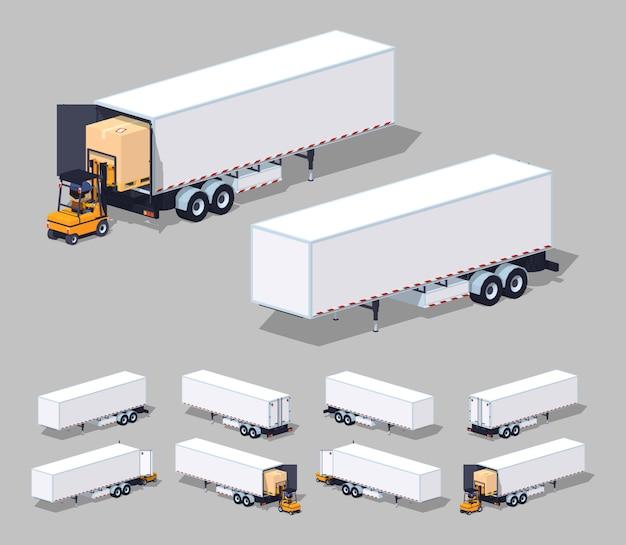 3d lowpoly isometrische grote witte vrachtaanhangwagen. laden of lossen