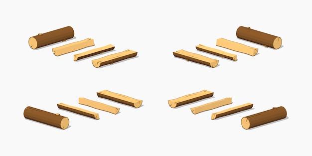 3d lowpoly isometrische kleine logboeken