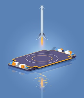 3d lowpoly isometrische landing op het ruimteschip