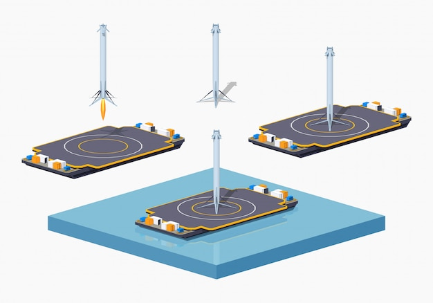 3d lowpoly isometrische landing ruimteaschuit