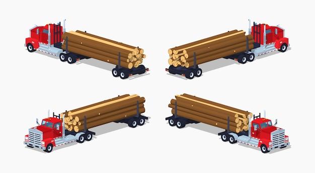 3d lowpoly isometrische logboekvrachtwagen met de stapel van logboeken