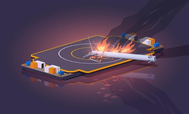3d lowpoly isometrische mislukte landing van het ruimteschip