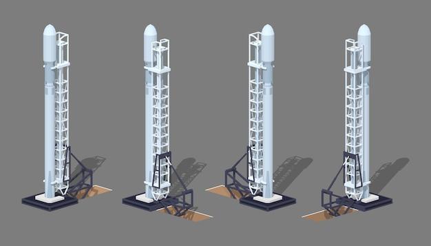3d lowpoly isometrische moderne ruimteraket op het lanceringsstootkussen