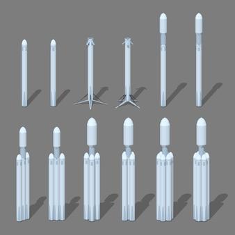 3d lowpoly isometrische moderne ruimteraket