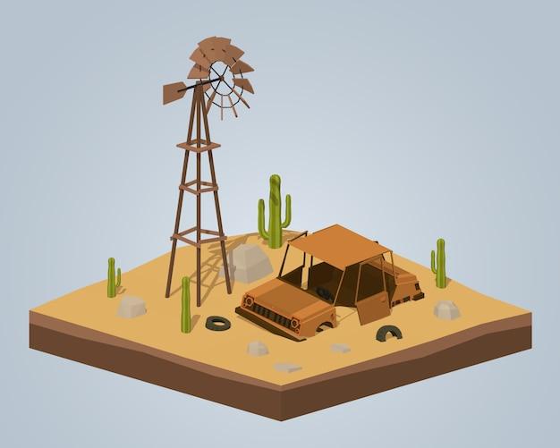 3d lowpoly isometrische oude roestige auto in de woestijn