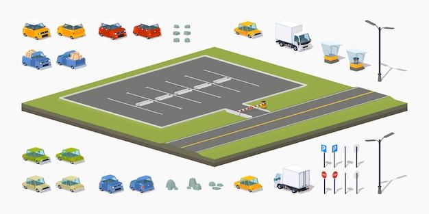 3d lowpoly isometrische parkeerterreinbouwer