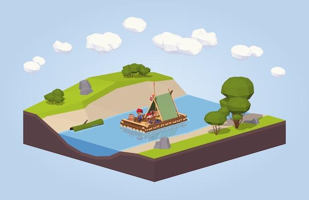3d lowpoly isometrische reis langs de rivier op een vlot