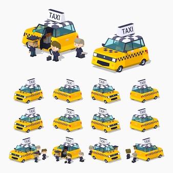 3d lowpoly isometrische taxichatchback met de passagiers