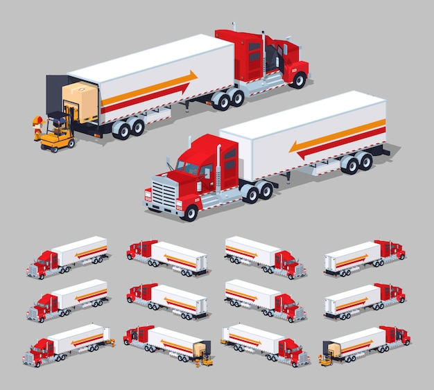 3d lowpoly isometrische zware amerikaanse vrachtwagen met de aanhangwagen