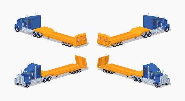 3d lowpoly isometrische zware vrachtwagen met dieplader