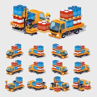 3d lowpoly oranje vrachtwagen vol met vaten
