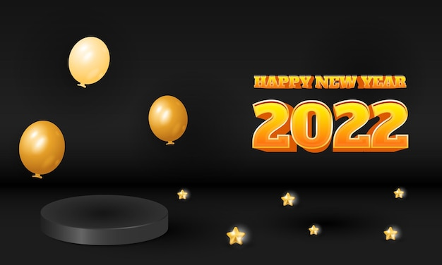 3d luxe zwart 2022 gelukkig nieuwjaar ontwerp met podium product display