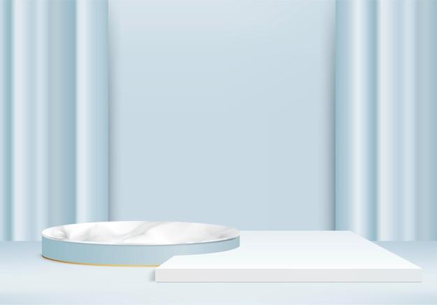 3d marmeren stenen achtergrondproducten tonen podiumscène met geometrisch platform. 3d-rendering met podium. stand om cosmetische producten te tonen. stage showcase op voetstuk display blauwe studio