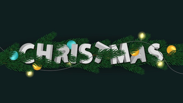 3d merry christmas brief met dennen
