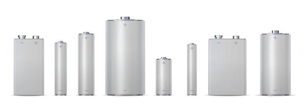 3d metalen elektrische cilinderbatterijen, aa, aaa en aaaa. alkalische chemische laadcel 9v, dc. realistische power batterij mockup vector set