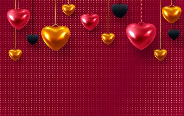 3d metallic goud en rode harten.