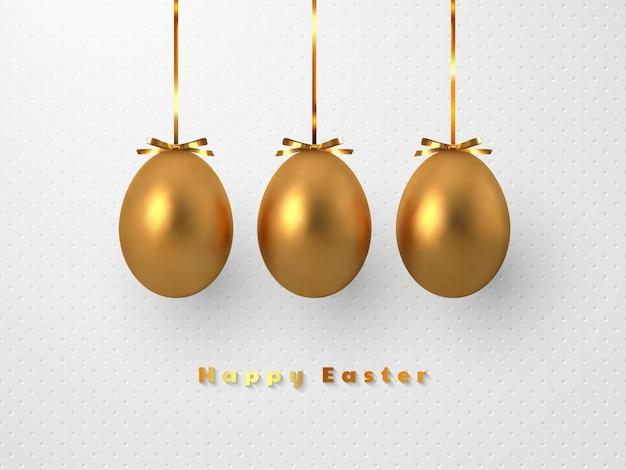 3d metallic gouden eieren die folieboog op wit gevlekt hangen.