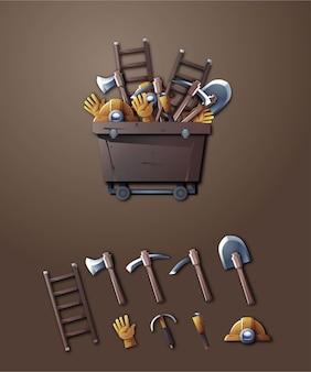 3d mijnbouwgereedschap illustratie set