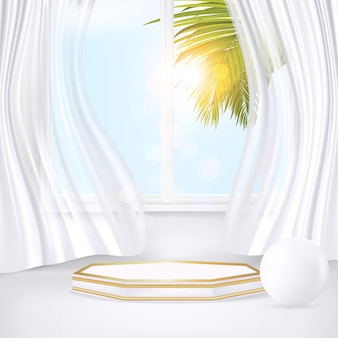 3d minimaal geometrisch podium onder zonlichtillustratievector met palmbladerengordijn