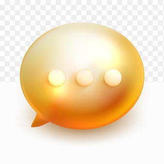 3d minimale gouden praatjebellen op transparante achtergrond
