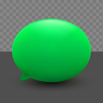 3d minimale groene praatjebellen op transparante achtergrond