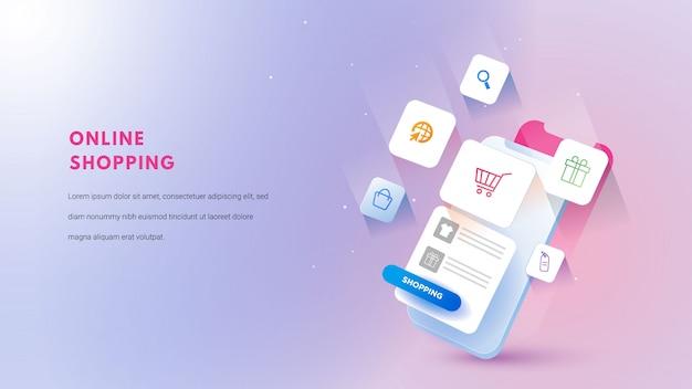 3d mobiel online winkelconcept. digitale marketing