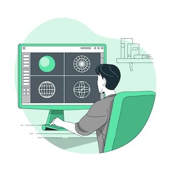 3d-modellering concept illustratie