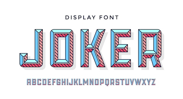 3d modern lettertype. kleurrijk modern lijnalfabet en 3d-lettertype. vetgedrukte retro hoofdletters met facet. typografie, lijnbrieven latijns lettertype. handgetekende moderne lettertype voor kop.