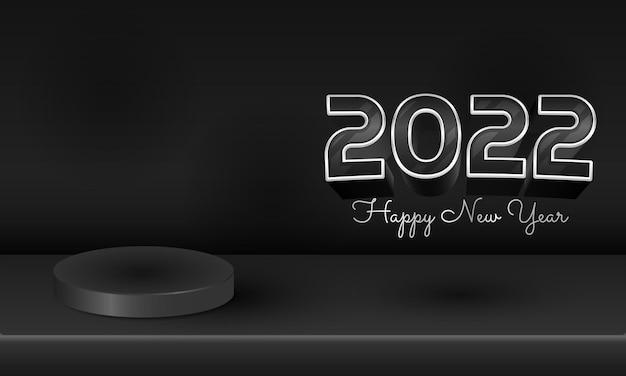 3d modern zwart 2022 gelukkig nieuwjaarsontwerp met podiumproductvertoning