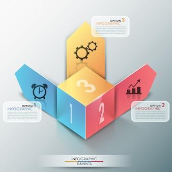 3d moderne banner van infographicsopties