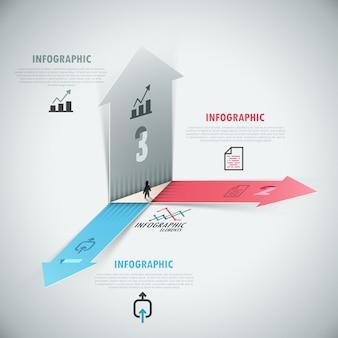3d moderne infographics opties banner met realistische pijlen
