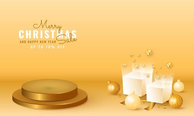 3d moderne kerst- en nieuwjaarsbanner met gouden podium, geschenkdoos en ballon