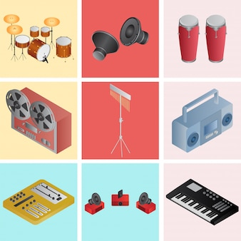 3d muziekinstrument in verschillende kleurenoptie.