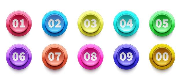 3d-nummers opsommingsteken. cirkel knoppen met nummers vector set. kleurrijke 3d knoppenpictogrammen