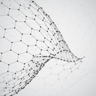 3d-object uit een zeshoekig raster met stippen. stijlvol ontwerp Premium Vector